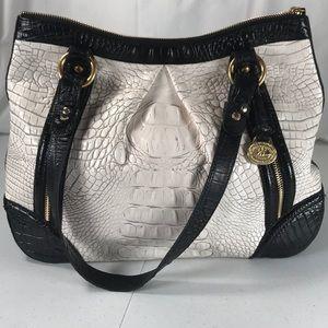 Brahmin croc white black handbag